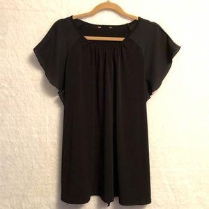 Black tunic shirt with ruffle sleeves